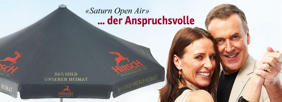 Sonnenschirm mit Werbeeindruck Saturn OpenAir
