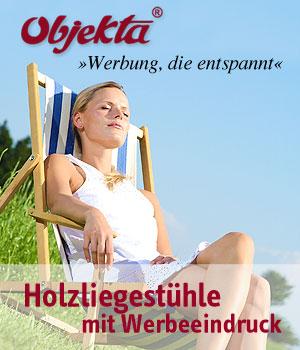 Holzliegestühle mit Werbeeindruck